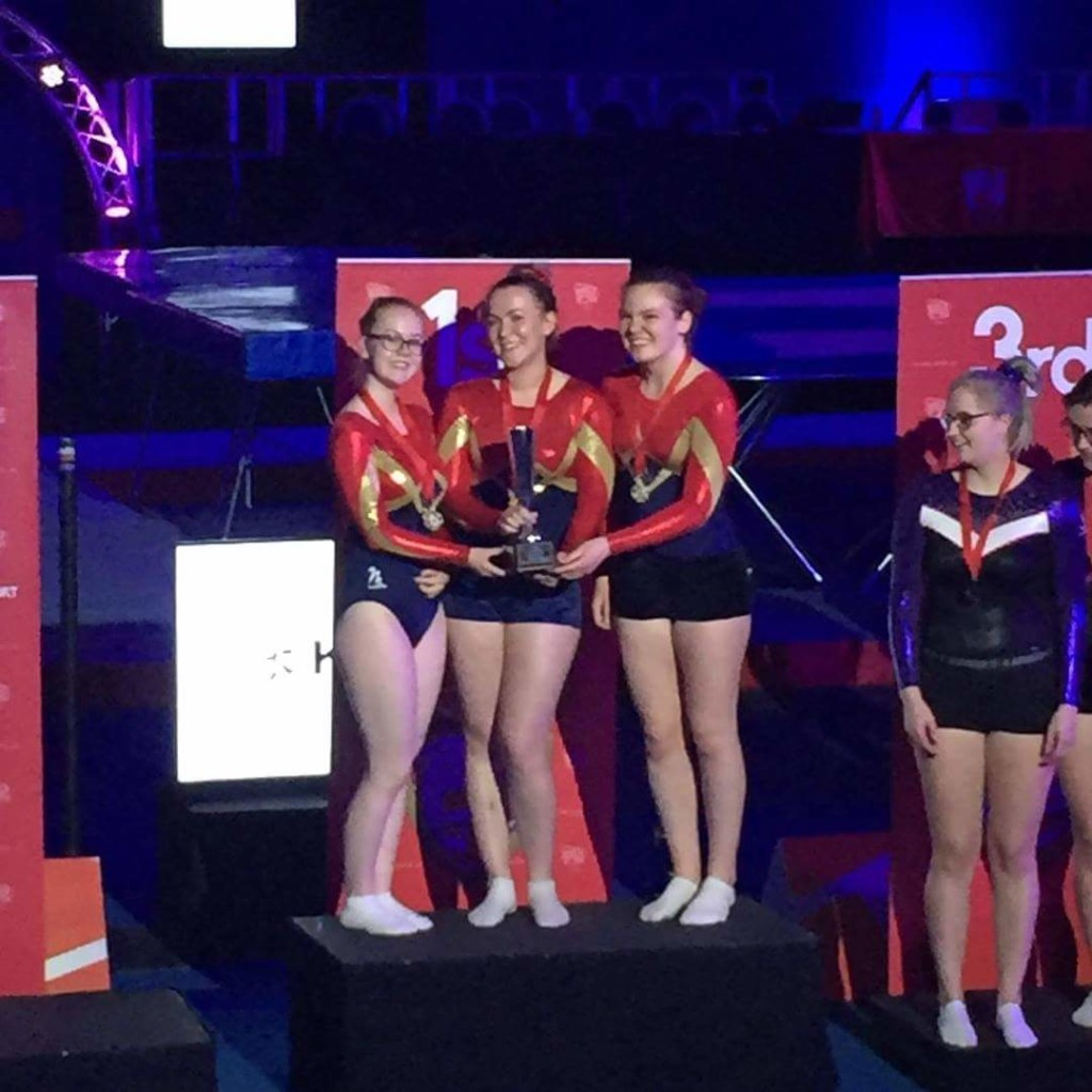 Women's team gold for the University of Southampton at BUCS Nationals Trampoline Championships 2018